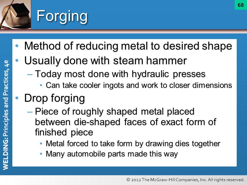 Forging Method of reducing metal to desired shape