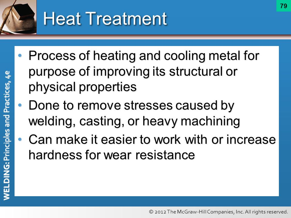 Heat Treatment Process of heating and cooling metal for purpose of improving its structural or physical properties.