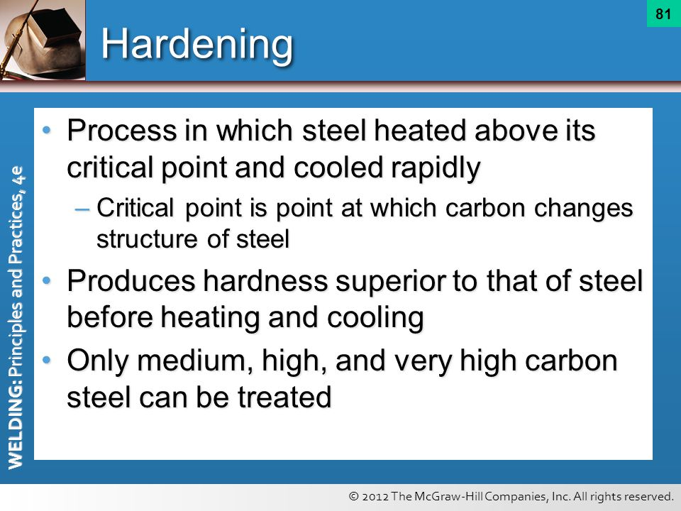 Hardening Process in which steel heated above its critical point and cooled rapidly.