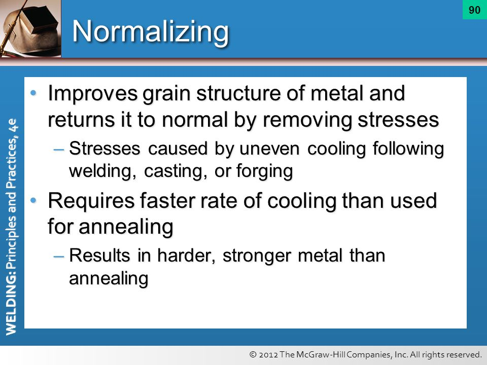 Normalizing Improves grain structure of metal and returns it to normal by removing stresses.