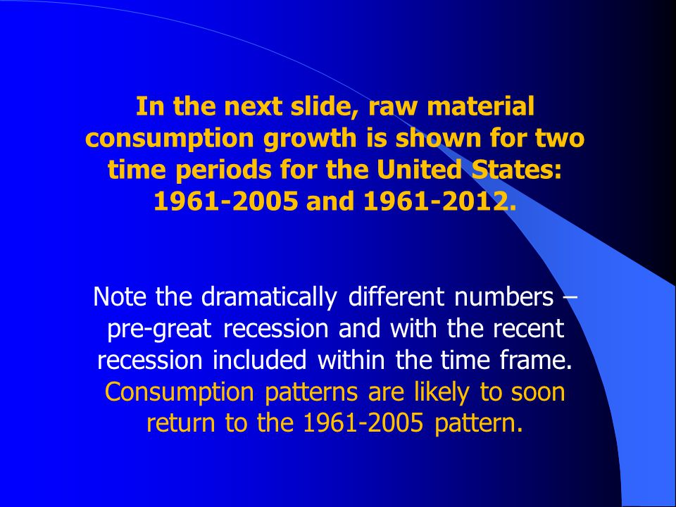 In the next slide, raw material consumption growth is shown for two time periods for the United States: 1961-2005 and 1961-2012.