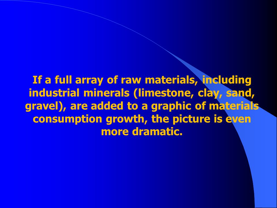 If a full array of raw materials, including industrial minerals (limestone, clay, sand, gravel), are added to a graphic of materials consumption growth, the picture is even more dramatic.