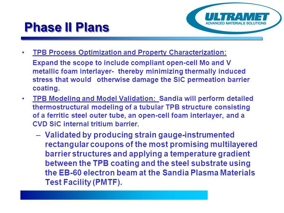 Phase II Plans TPB Process Optimization and Property Characterization: