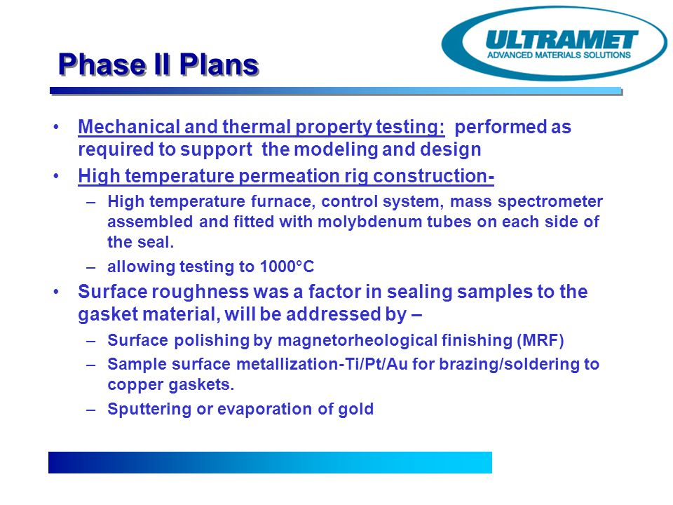 Phase II Plans Mechanical and thermal property testing: performed as required to support the modeling and design.