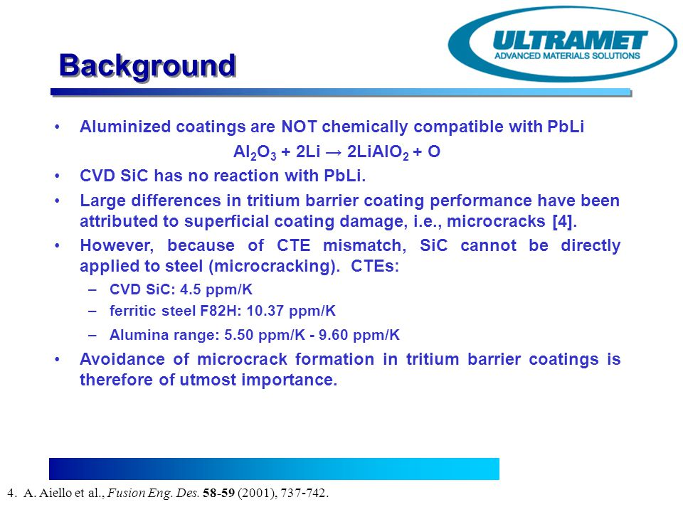 Background Aluminized coatings are NOT chemically compatible with PbLi
