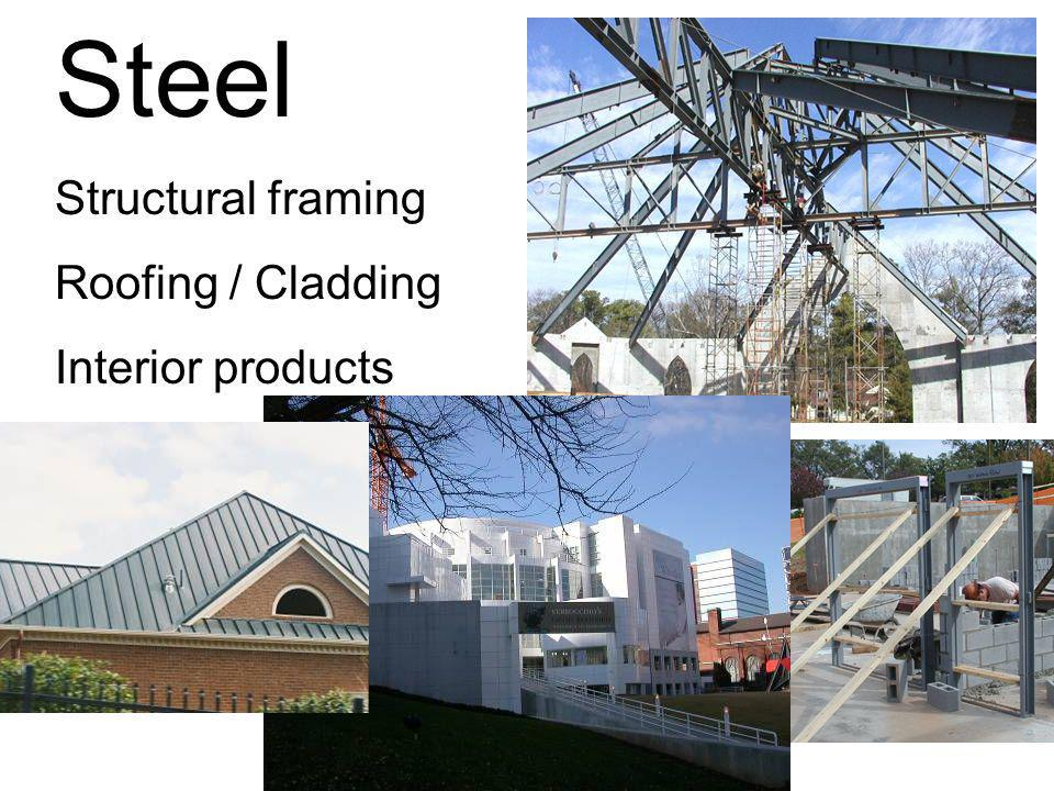 Steel Structural framing Roofing / Cladding Interior products