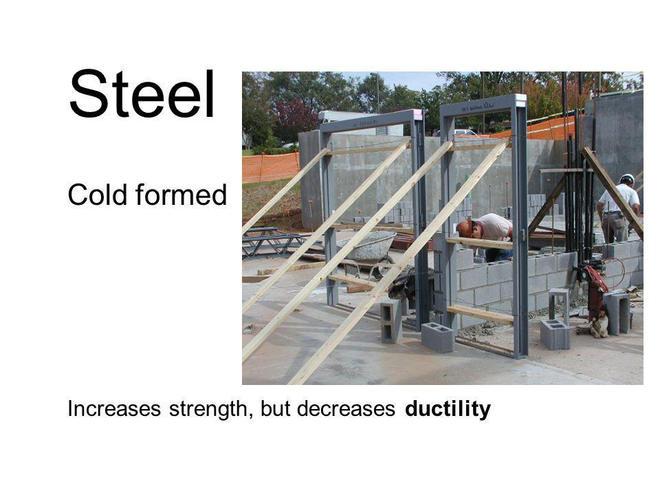 Steel Cold formed Increases strength, but decreases ductility
