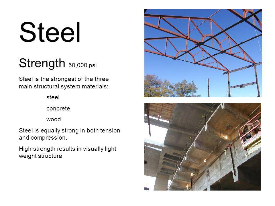 Steel Strength 50,000 psi. Steel is the strongest of the three main structural system materials: steel.