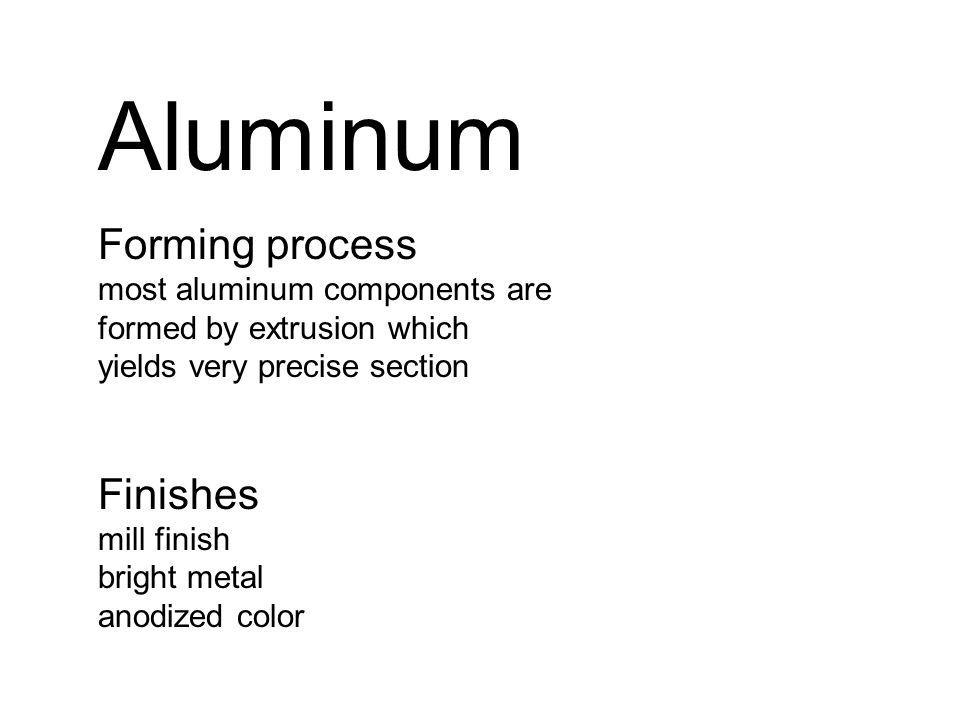 Aluminum Forming process most aluminum components are formed by extrusion which yields very precise section.