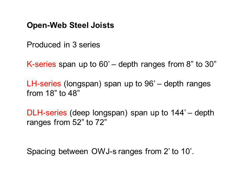Open-Web Steel Joists Produced in 3 series. K-series span up to 60' – depth ranges from 8 to 30