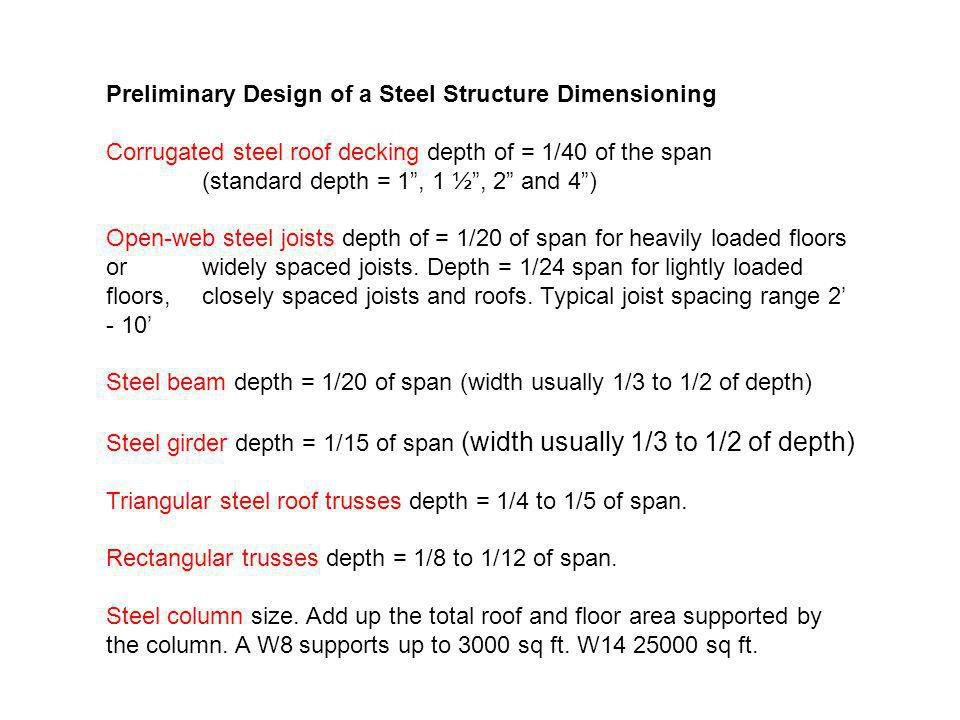 Preliminary Design of a Steel Structure Dimensioning