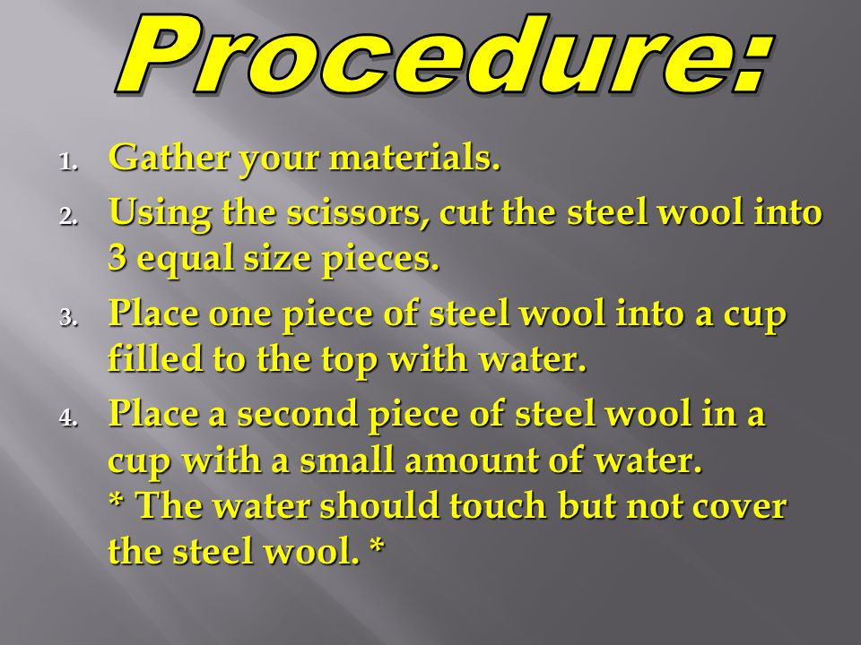 Procedure: Gather your materials.