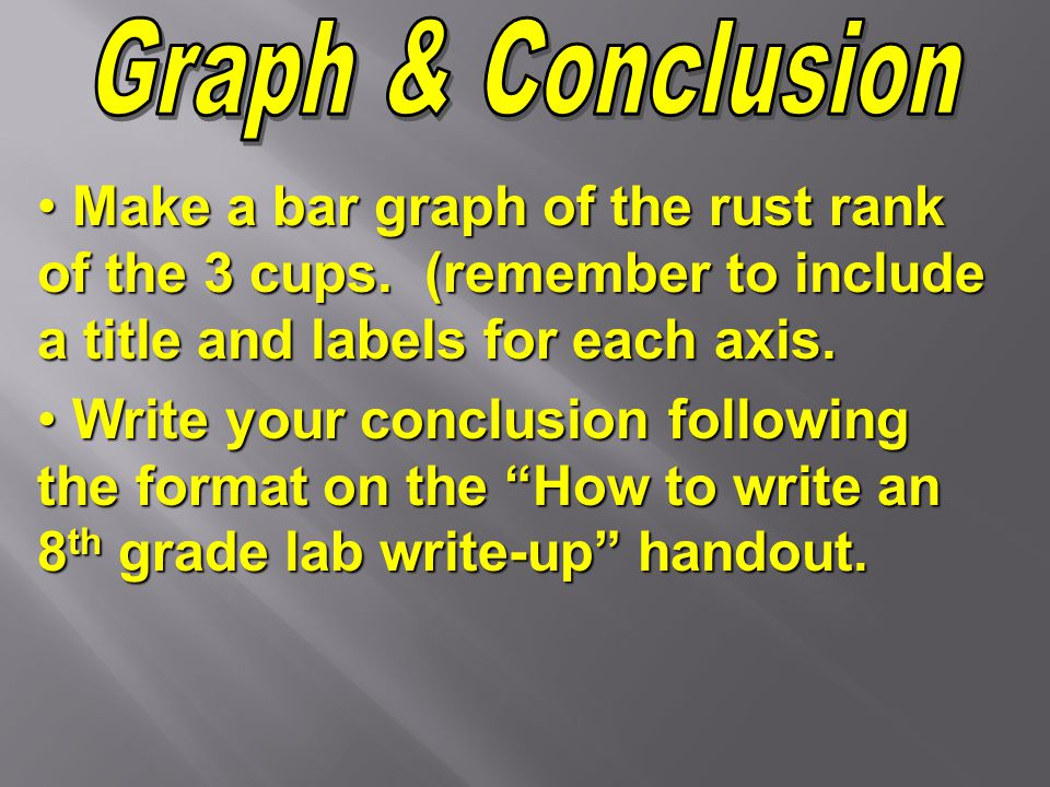 Graph & Conclusion Make a bar graph of the rust rank of the 3 cups. (remember to include a title and labels for each axis.