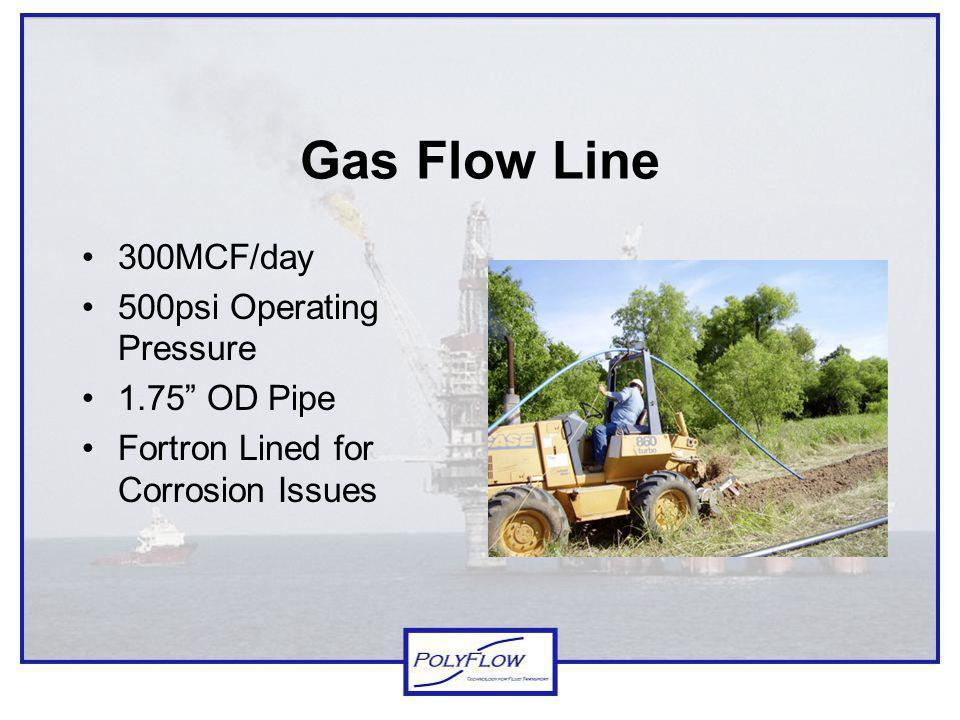 Gas Flow Line 300MCF/day 500psi Operating Pressure 1.75 OD Pipe