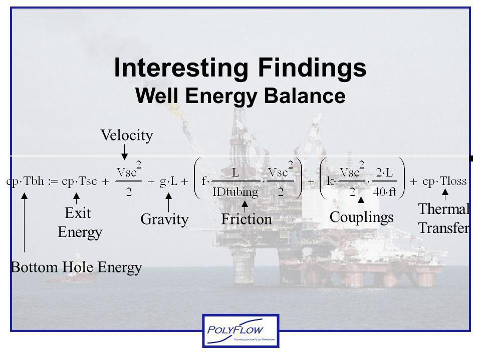Interesting Findings Well Energy Balance