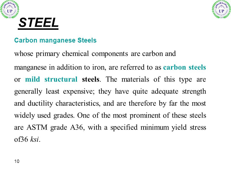 STEEL whose primary chemical components are carbon and