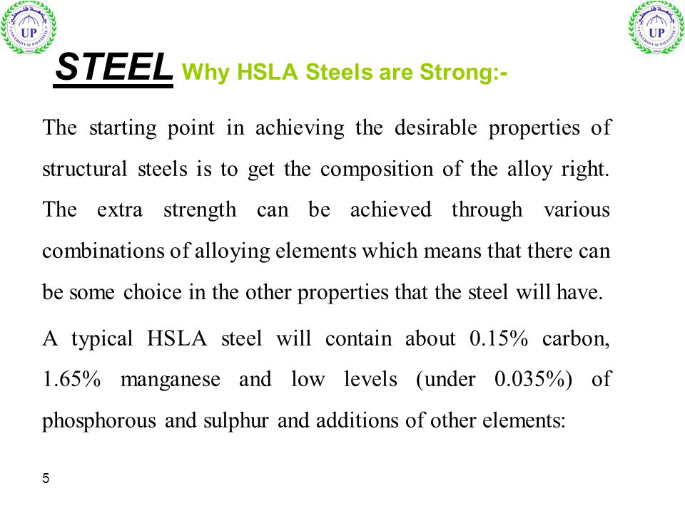 STEEL Why HSLA Steels are Strong:-