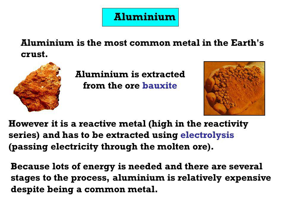 Aluminium is extracted from the ore bauxite