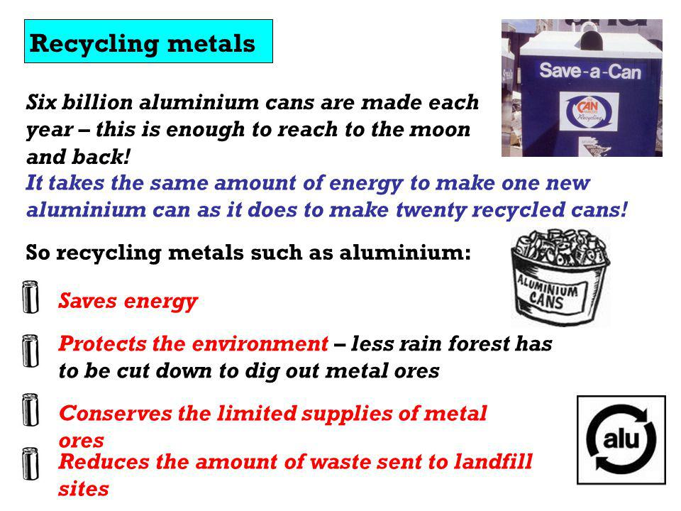 Recycling metals Six billion aluminium cans are made each year – this is enough to reach to the moon and back!