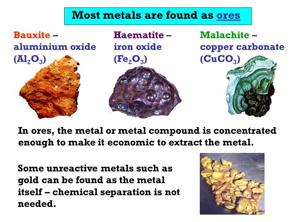 Most metals are found as ores