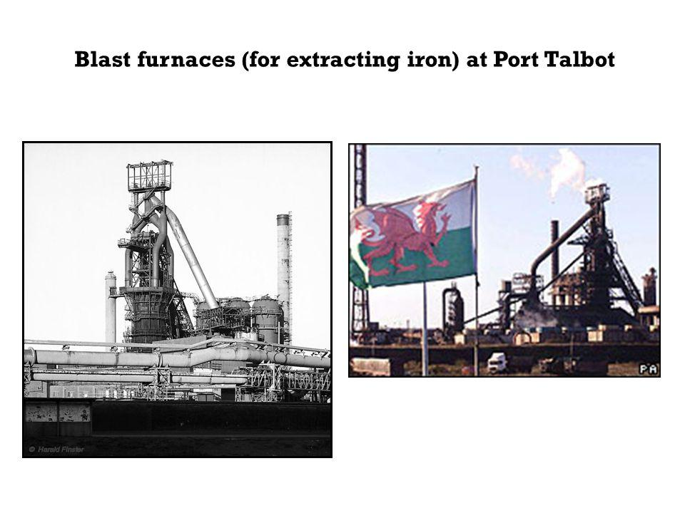 Blast furnaces (for extracting iron) at Port Talbot