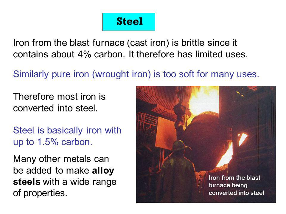 Steel Iron from the blast furnace (cast iron) is brittle since it contains about 4% carbon. It therefore has limited uses.