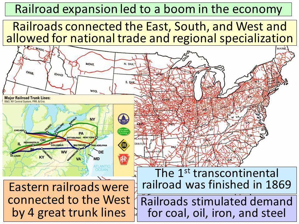 Railroad expansion led to a boom in the economy