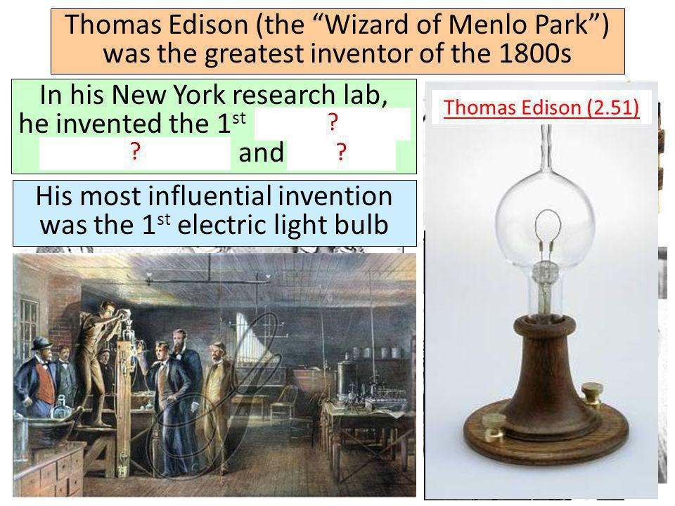 His most influential invention was the 1st electric light bulb