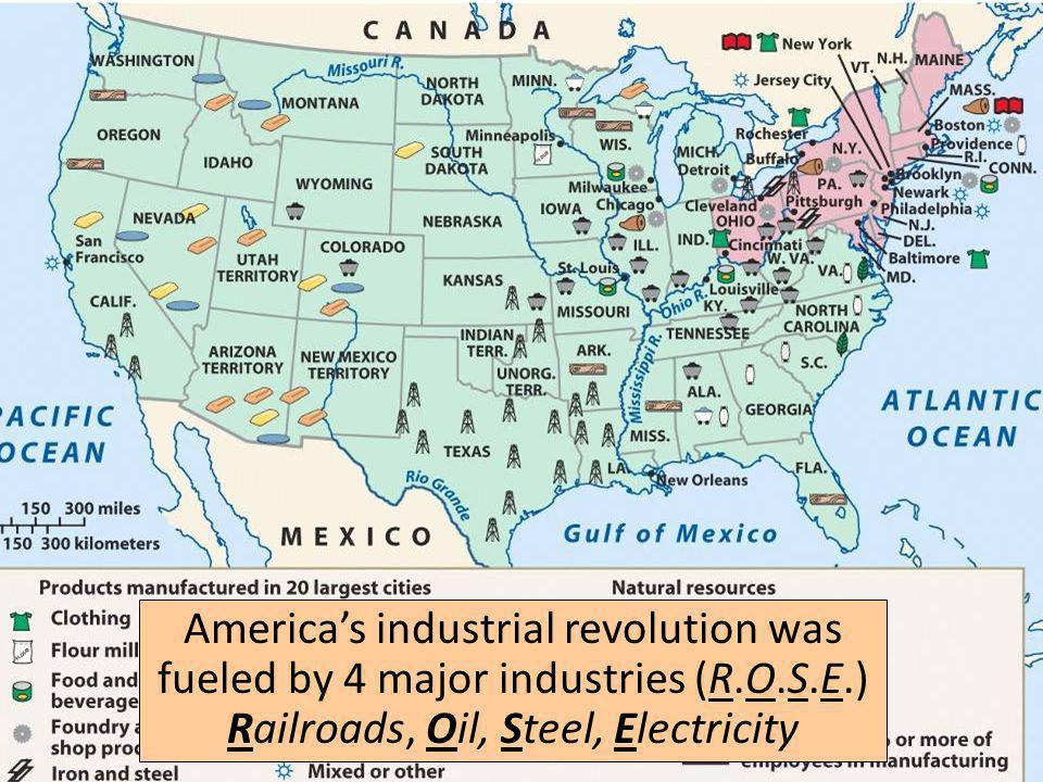 America's industrial revolution was fueled by 4 major industries (R. O