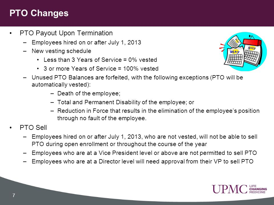 PTO Changes PTO Payout Upon Termination PTO Sell