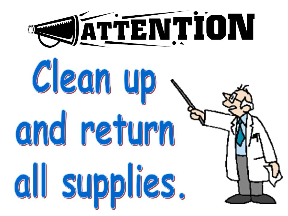 Clean up and return all supplies.