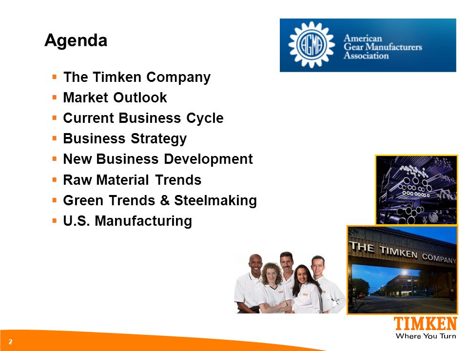 Agenda The Timken Company Market Outlook Current Business Cycle