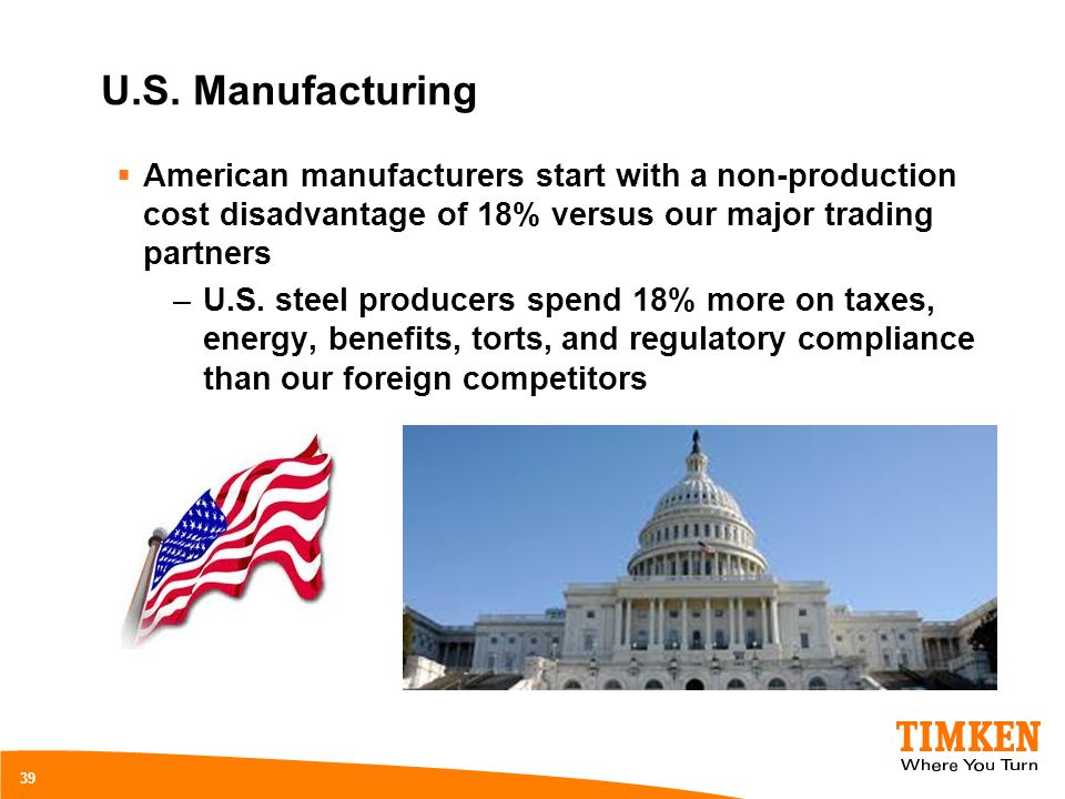 U.S. Manufacturing American manufacturers start with a non-production cost disadvantage of 18% versus our major trading partners.