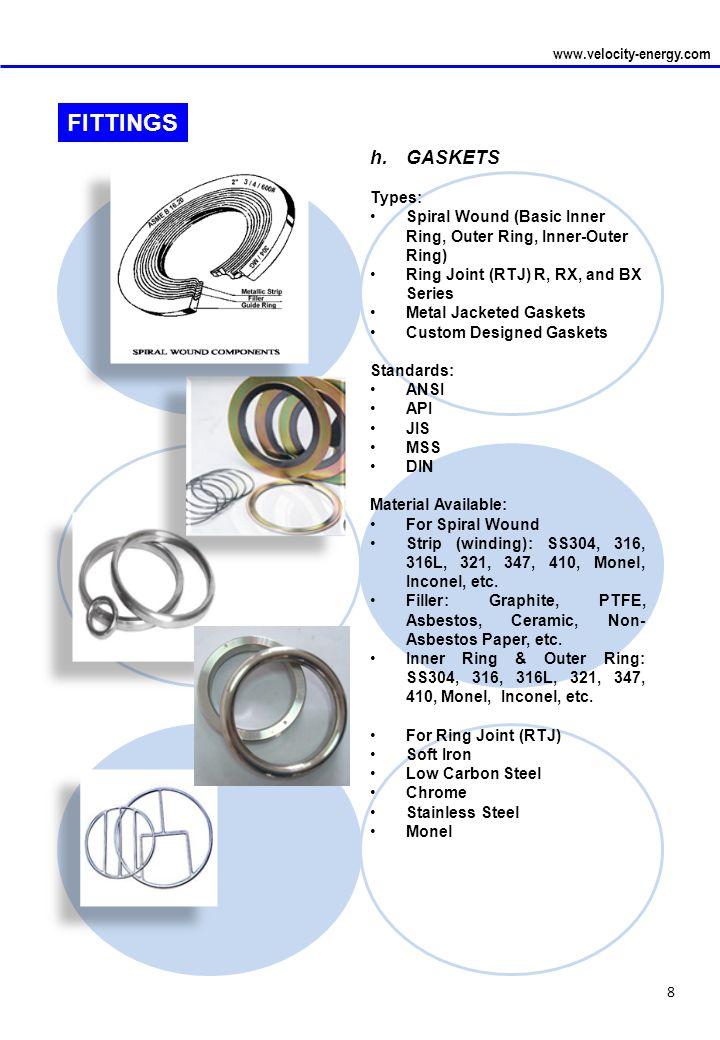 FITTINGS j. SKILLET GASKETS (FLANGE SKILLET®) www.velocity-energy.com