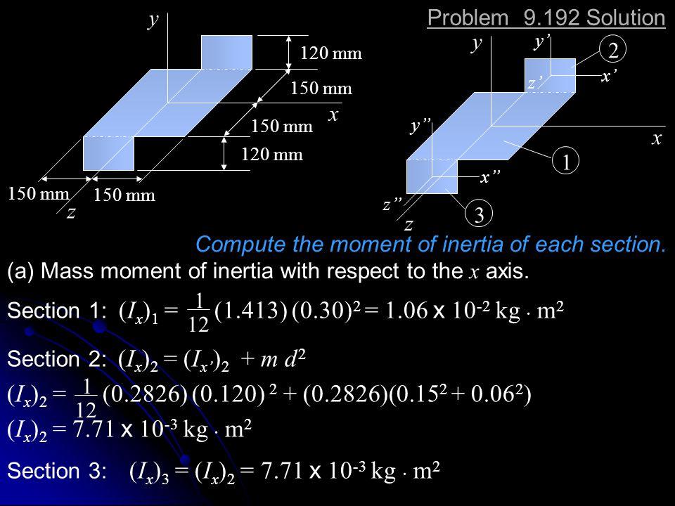 x y. z. 120 mm. 150 mm. Problem 9.192 Solution. x. y. z. x' y' z' y'' x'' z'' 2. 1.