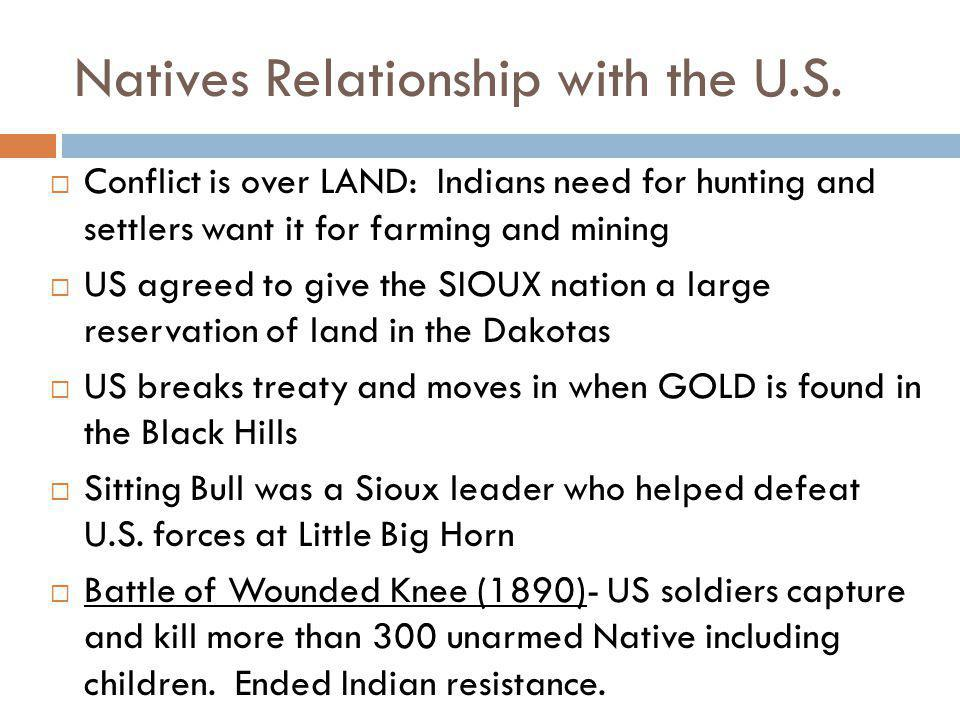 Natives Relationship with the U.S.