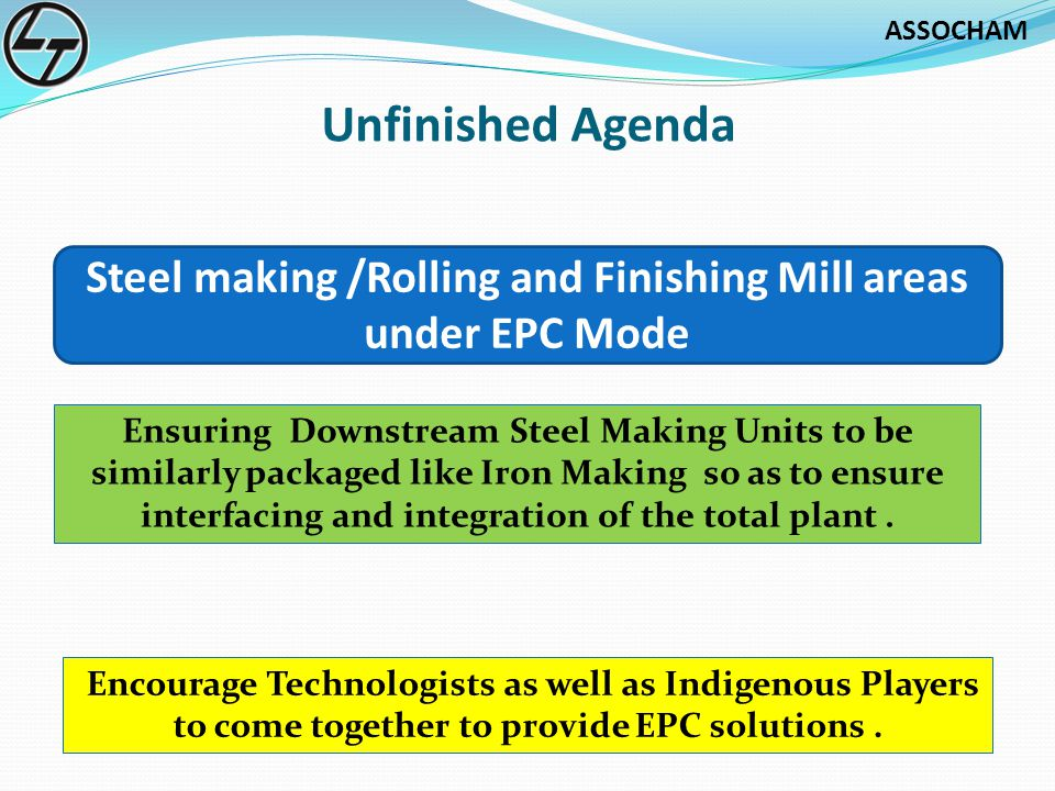 Steel making /Rolling and Finishing Mill areas under EPC Mode