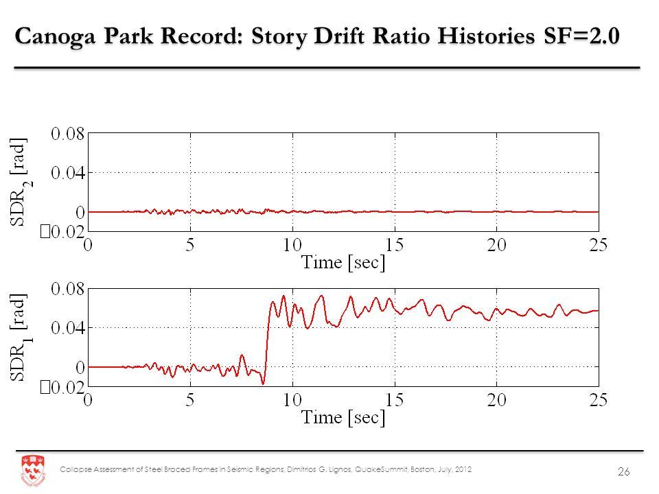 Canoga Park Record: Story Drift Ratio Histories SF=2.0