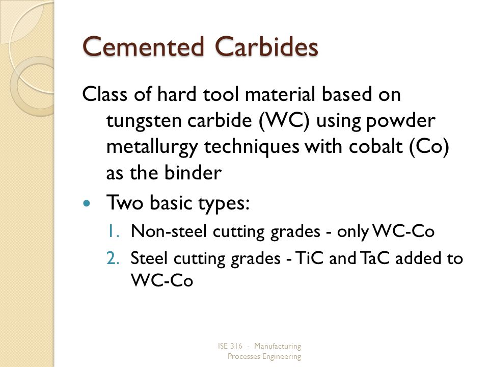 Cemented Carbides Class of hard tool material based on tungsten carbide (WC) using powder metallurgy techniques with cobalt (Co) as the binder.