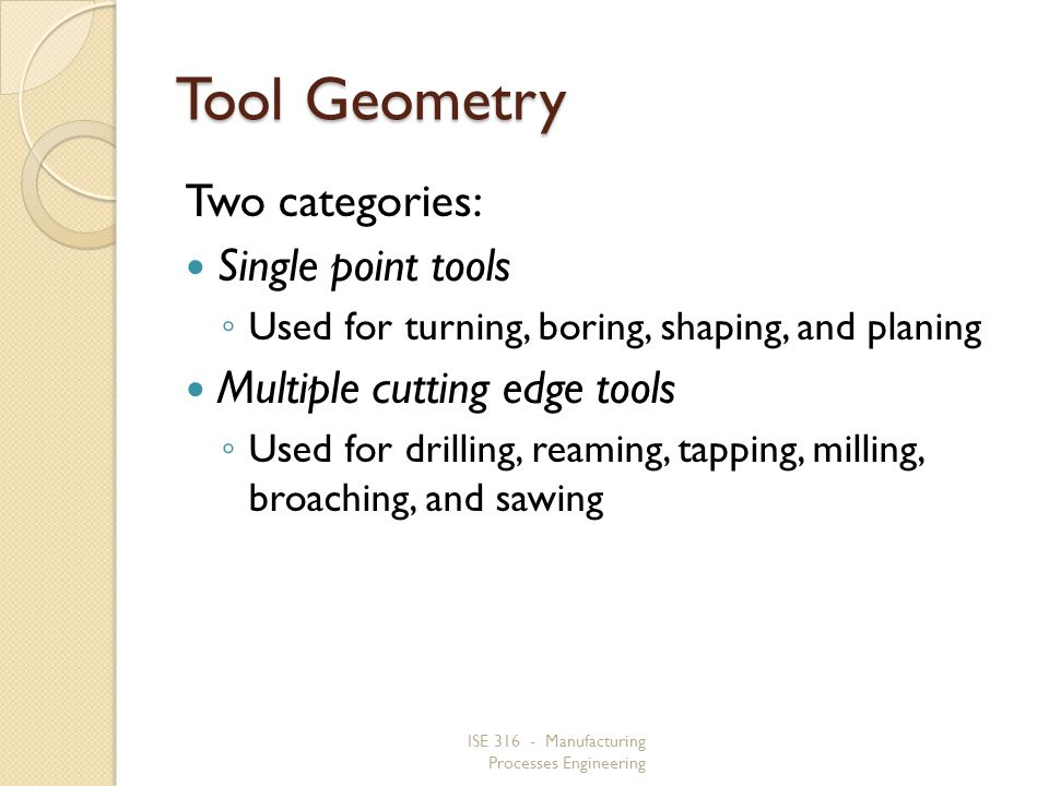 Tool Geometry Two categories: Single point tools