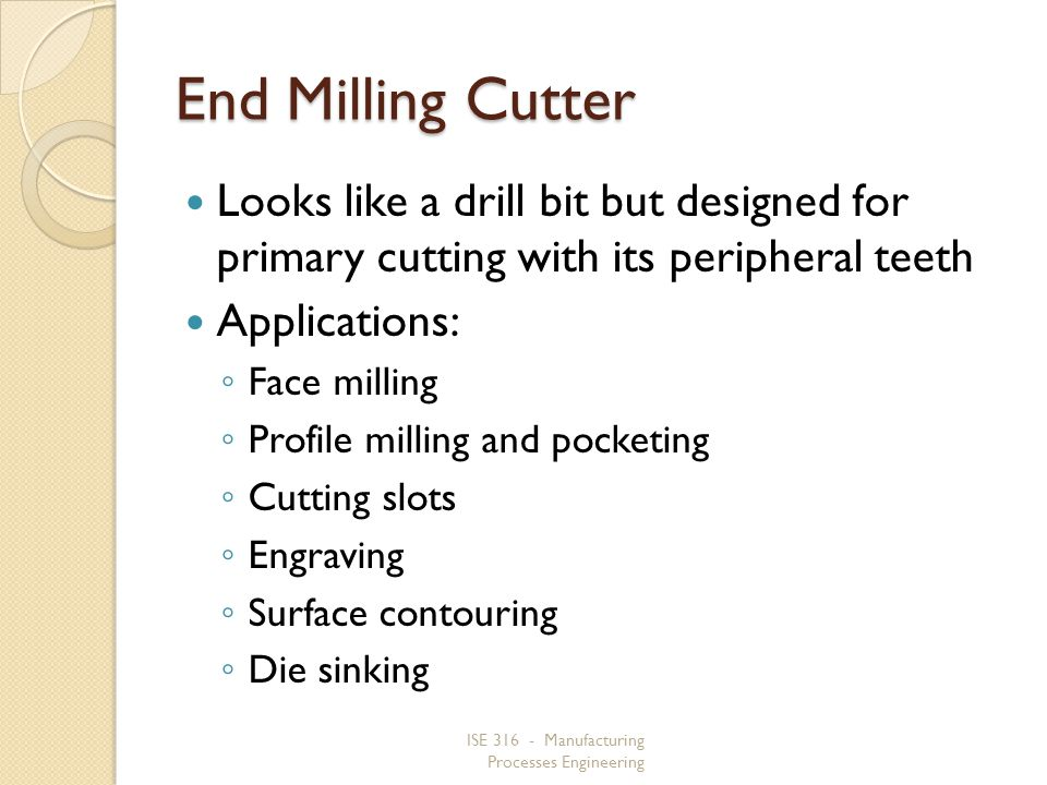 End Milling Cutter Looks like a drill bit but designed for primary cutting with its peripheral teeth.