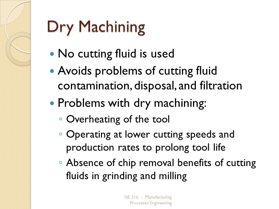 Dry Machining No cutting fluid is used