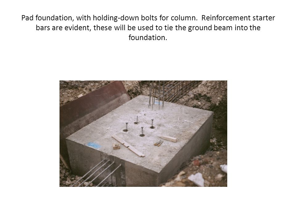Pad foundation, with holding-down bolts for column