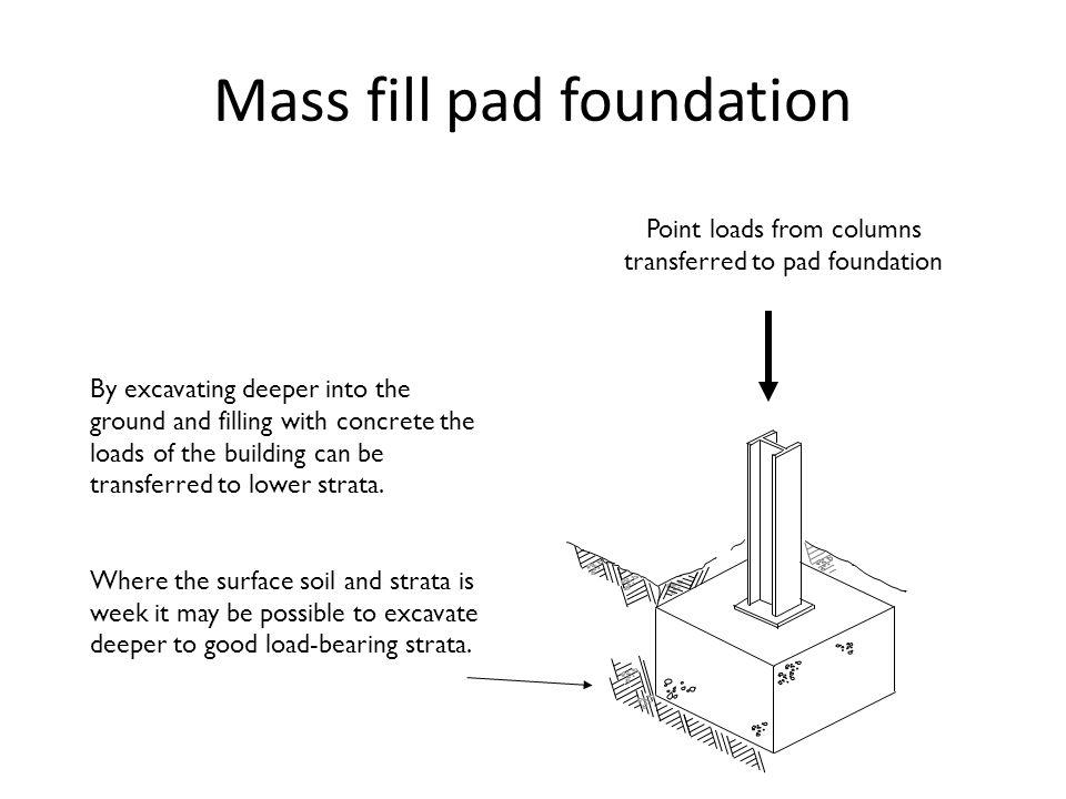 Mass fill pad foundation