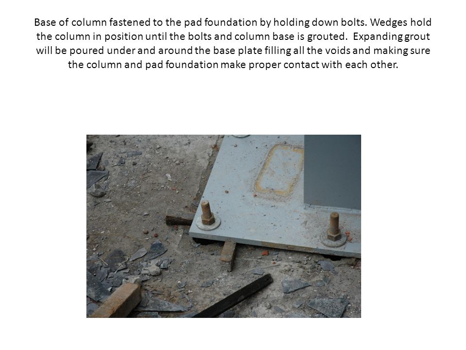Base of column fastened to the pad foundation by holding down bolts