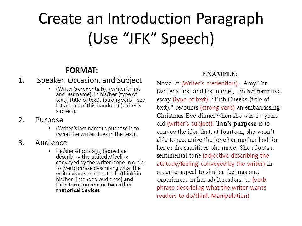Create an Introduction Paragraph (Use JFK Speech)
