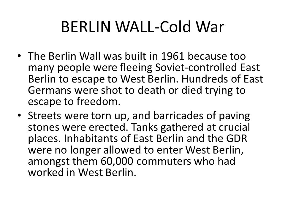 BERLIN WALL-Cold War