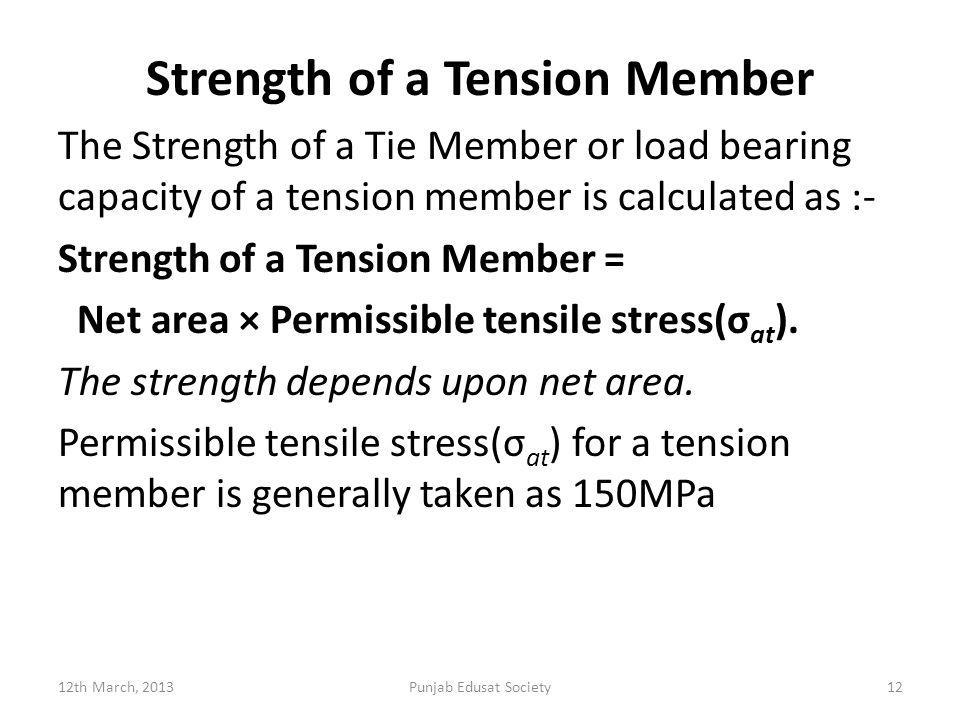 Strength of a Tension Member