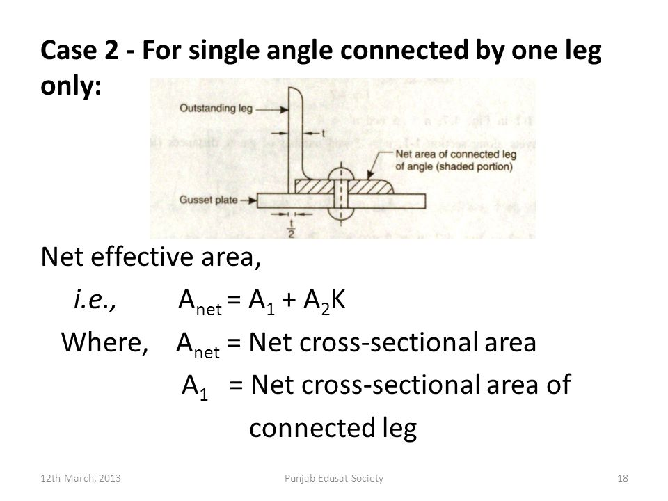Case 2 - For single angle connected by one leg only: