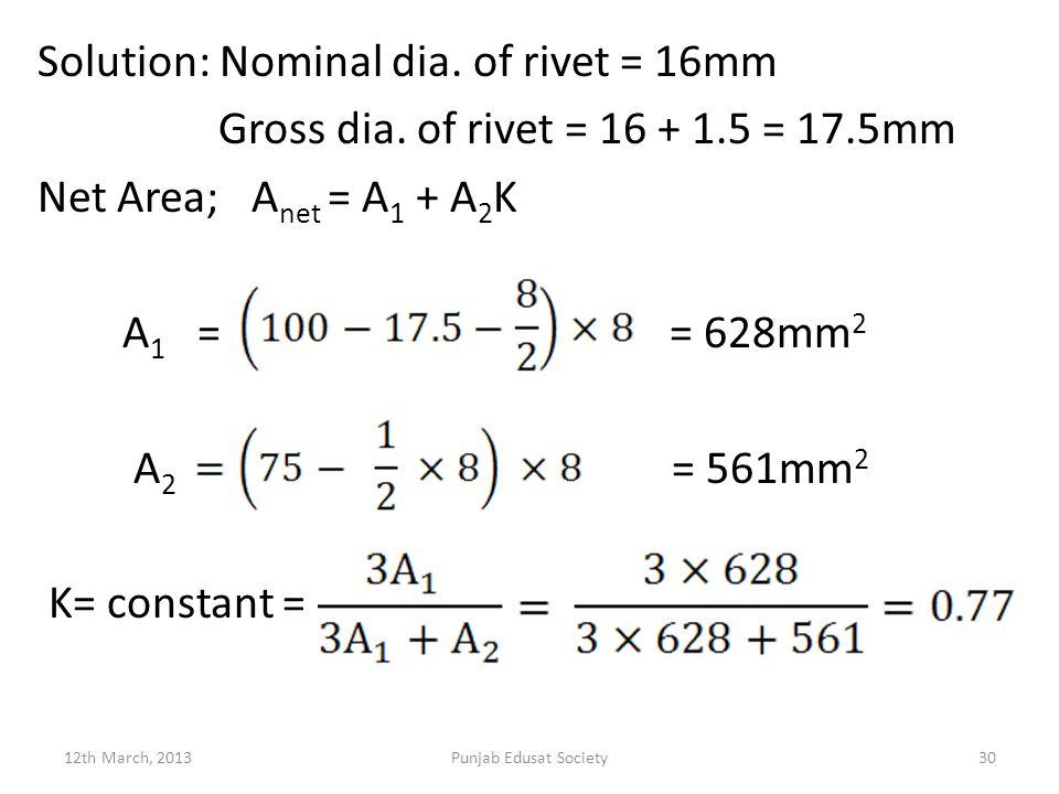 Solution: Nominal dia. of rivet = 16mm Gross dia. of rivet = 16 + 1